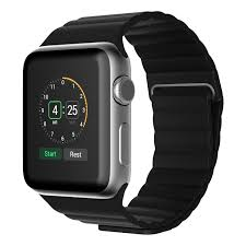 jetech black leather loop apple watch band