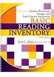 Word Inventory Basic Reading Inventory Student Word Lists Passages And