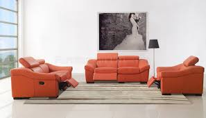 reclining sofa in orange full leather by esf woptions