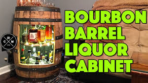Alcohol Cabinet How To Build A Bourbon Whiskey Or Wine Barrel Liquor Cabinet