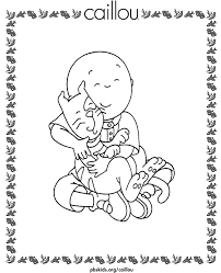 Caillou Coloring Pages Caillou With Gilbert The Kitty Cat Pbs Kids