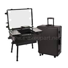 modern studio makeup case w led lights mirror legs black