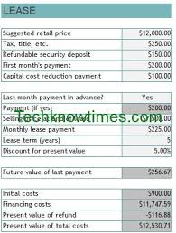 lease a car vs buy buy vs lease calculator excel