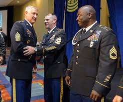leadership nco journal sgt maj of the army raymond f chandler iii greets the recipients of