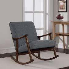 retro wood furniture. granite grey fabric mid century wooden rocking chair retro wood furniture