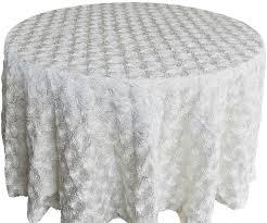 120 round satin rosette tablecloth ivory 56502 1pc pk