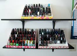 from the 4 foam boards i was able to make 3 racks to hold approximately 150 bottles of nail polish for only 14 yay i organized my polish by color since