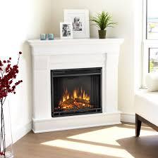 white corner fireplace electric
