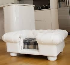 balm white faux leather dog sofa