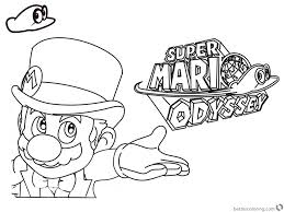 Super Mario Odyssey Coloring Pages Line Art With Logo Free