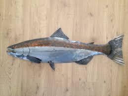 coho salmon metal 36in handmade fish wall art sculpture lodge wall art fish metal sculpture