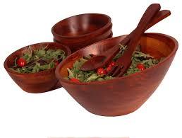 7 piece angle wood salad bowl set large