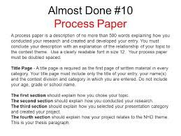 examples of process essays by chelsie brandrick commissioning  a process paper is a description of no more than 500 words explaining how you conducted