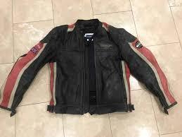 genuine triumph retro leather motorbike jacket with armour size 54 l xl