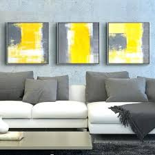 yellow and gray canvas wall art