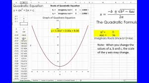 quadratic equations using excel