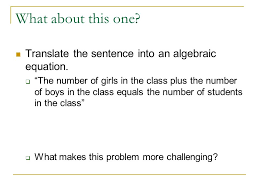 translate the sentence into an algebraic equation