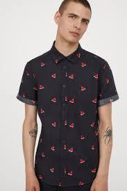 <b>Хлопковая рубашка с</b> рисунком - Черный/Арбузы - Мужчины ...
