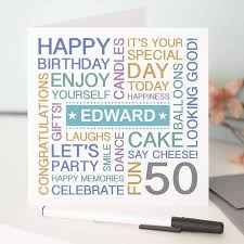 birthday cards original personalised 50th card