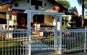 picket fence gate with arbor. Aluminum Arbor With Fence And Gate In White Picket
