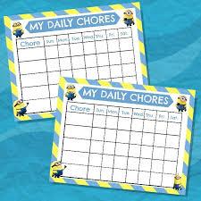 Minion Behavior Chart Minion Chore Chart Free Printable