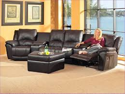 image of traditional leather sectional sofa with recliner