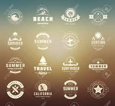 Retro Holidays Summer Holidays Labels Design Elements And Typography Set Retro