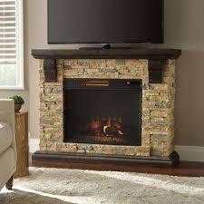 faux stone mantel electric fireplace in tan