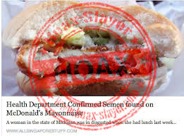 hoax semen found on mcdonald s burger  hoax seman on mcdonald s onnaise