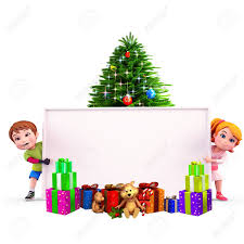 Kids With Christmas Tree And Sign Stock Photo Picture And Royalty Christmas Tree Kids