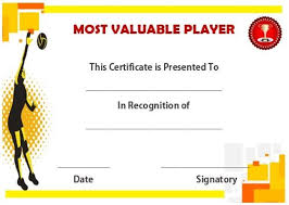 Volleyball Mvp Certificate Volleyball Certificates Free