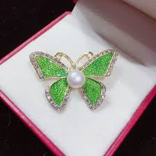 <b>ZHBORUINI</b> 2019 New <b>Pearl Brooch</b> Simple Enamel Butterfly <b>Pearl</b> ...