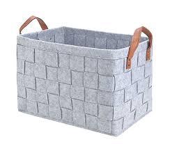 gray fabric storage bins storage baskets handmade decorative collapsible rectangular felt fabric storage bin large enough