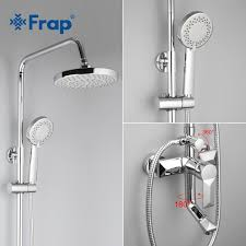 2018 frap bathroom rainfall shower faucet set mixer tap with hand sprayer wall mounted bath shower sets single handle f2418 from qinqinmeling
