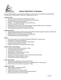 Resume Bullet Points Examples bullet point resume examples Tiredriveeasyco 2