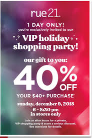 Event Rue21 Vip Holiday Shopping Party Lakeside Mall Sterling