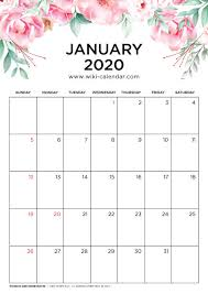 Free 2020 Monthly Calendar Template Free Printable 2020 Floral Calendar
