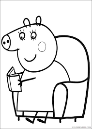 Peppa pig coloring pages will introduce your children to the heroes of a fun and informative cartoon series that children of all ages love. Peppa Pig Coloring Pages Mummy Pig Reading Book Coloring4free Coloring4free Com