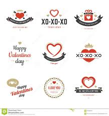 valentine s day labels badges heart icons vector