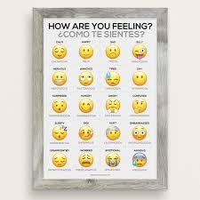 Spanish Feelings Chart Emoji Feelings Bilingual English Spanish Chart Poster