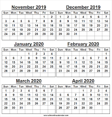 Printable Calendar November 2019 To April 2020 Horizontal