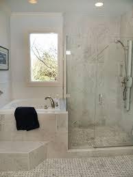 bath and shower in small bathroom. interesting way to separate shower and bath in a small bathroom. plunge tub. bathroom u