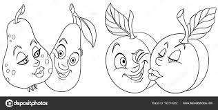 Kleurplaten Cartoon Vruchten Liefde Mooie Kus Emoticons Emoji Voor