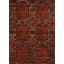 picture of jaipur city hand tufted geometric pattern wool art silk red brown