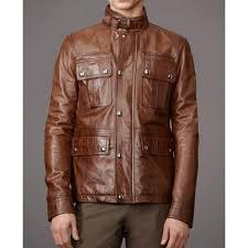 men s belted collar brown leather biker jacket