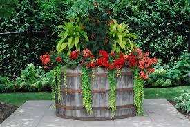 image of wine barrel planter style