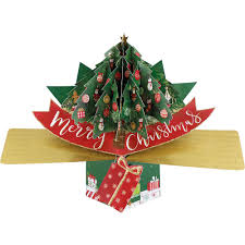 merry xmas tree 3d pop up card