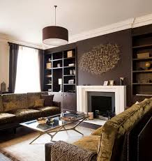 brown living room. Elegant Brown Living Room Combine With Gold Color S