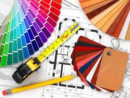 interior design blueprints. Interior Design. Architectural Materials Tools And Blueprints \u2014 Stock Photo Design P