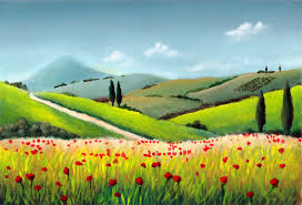 tuscany downtown landscape painting